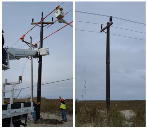 Tideland EMC installs the Intelli-Pole® at Ocracoke Island, NC on Wednesday, January 6, 2016. Highland Composites provided comprehensive installation support at the site.